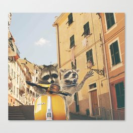 Raccoons on the road trip Canvas Print