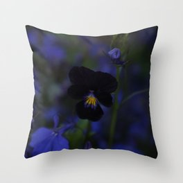 Black and Blue Flower Throw Pillow
