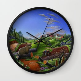 Spring On The Farm Rural Country Groundhog Landscape Wall Clock