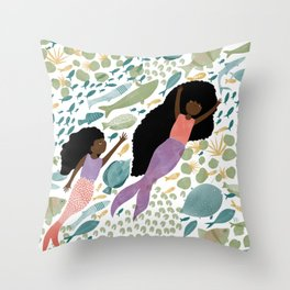 Mermaids and Fish in the Ocean Throw Pillow