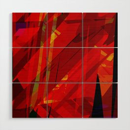 red spiky Wood Wall Art