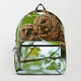 Barred owl mom and baby Backpack