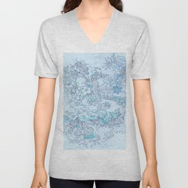 "Alphonse Mucha ""Anemones, Apple Blossoms and Narcissi"" (edited blue) Unisex V-Neck"