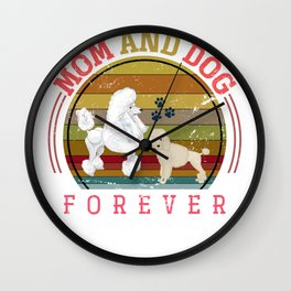 Mom And Poodle Dog Wall Clock
