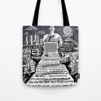 kerouac Tote Bags featuring on the road - kerouac  by miles to go