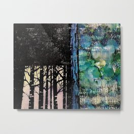 Forest Love - Mixed Media Acrylic Alcohol Ink Abstract Modern Art, 2015 Metal Print