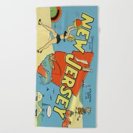Retro New Jersey Beach Vintage Postcard Beach Towel