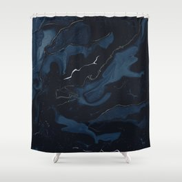 Abstract Astronomy in Dark Blue Shower Curtain