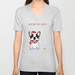 French Bulldog Waiting for Santa - Brindle Pied Edition Unisex V-Neck