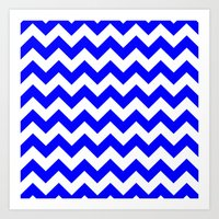 chevron Art Prints featuring Chevron (Blue/White) by 10813 Apparel