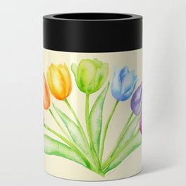 Rainbow Tulips, Flowers with Yellow Background Can Cooler
