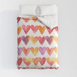 Watercolor hearts Comforters