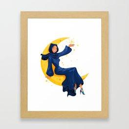 Lady on the Moon Framed Art Print
