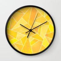 sunshine Wall Clocks featuring Sunshine by Elisabeth Fredriksson