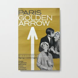 Paris Golden Arrow Vintage Travel Poster Metal Print