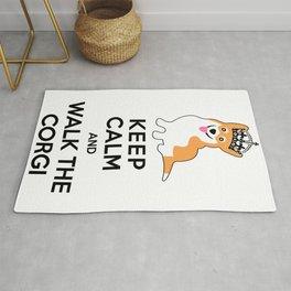 Keep Calm and Walk the Corgi Rug