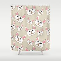 frenchie Shower Curtains featuring Frenchie Party! by Allyson Johnson