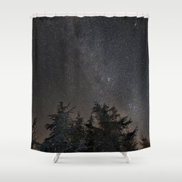 Andromeda Galaxy, Perseus and milkyway over the forest in the mountains Shower Curtain