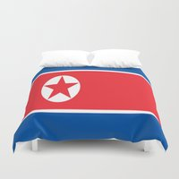 korea Duvet Covers featuring Flag of North Korea by Neville Hawkins