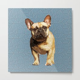 French Bulldog Polygonal Art Metal Print