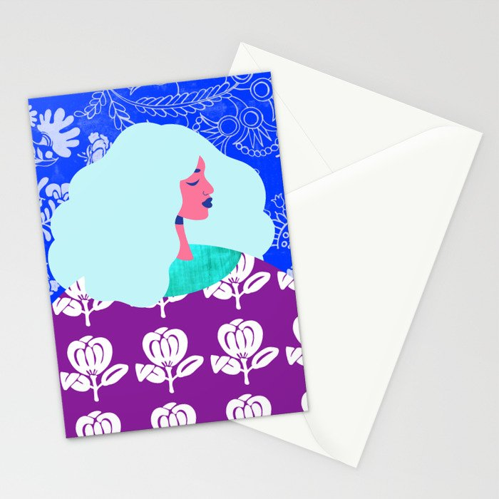 Blue Wallpaper Girl Stationery Cards