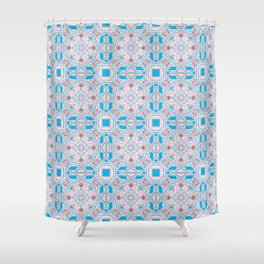 Blue Rose Techno Cosmic Lines Pattern Shower Curtain