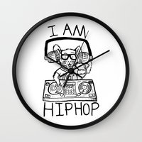 hiphop Wall Clocks featuring I AM HIPHOP  by Geryes
