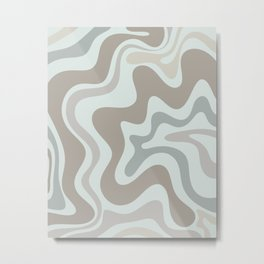 Liquid Swirl Abstract Pattern in Taupe Gray and Light Ice Blue Metal Print