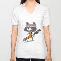 rocket raccoon V-neck T-shirts featuring Rocket Raccoon by Rod Perich