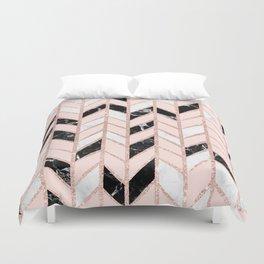 Rose gold glitter chevron herringbone black white marble pattern Duvet Cover