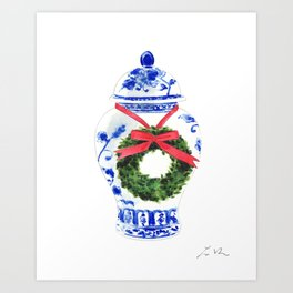 Christmas Ginger Jar with Wreath Art Print
