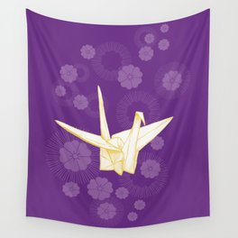 Paper Crane and Cherry Blossoms Wall Tapestry
