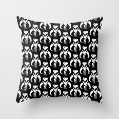 Mythosaur Skulls in Black and White Throw Pillow