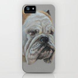 ENGLISH BULLDOG Realistic Dog portrait Pastel drawing on gray background iPhone Case