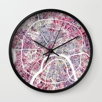 moscow Wall Clocks featuring Moscow by MapMapMaps.Watercolors