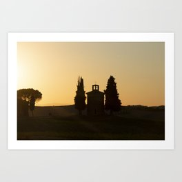 Chapel in the sunset - Tuscany scenery - Travel Photography Italy Art Print