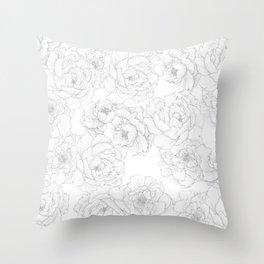 Peony Flower Pattern Throw Pillow