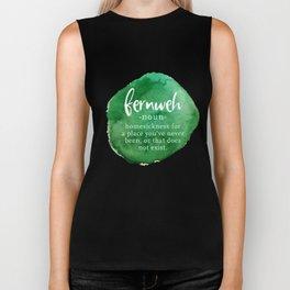 Fernweh Word Nerd - Green Watercolor Biker Tank