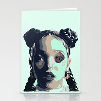 fka twigs Stationery Cards featuring FKA TWIGS LINE DRAWING by Happy as Flynn