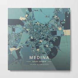Medina, Saudi Arabia - Cream Blue Metal Print