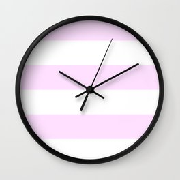 Wide Horizontal Stripes - White and Pastel Violet Wall Clock