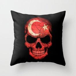 Dark Skull with Flag of Turkey Throw Pillow