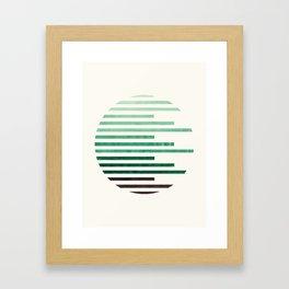 Mid Century Modern Minimalist Circle Round Photo Aquamarine Teal Green Staggered Stripe Pattern Framed Art Print