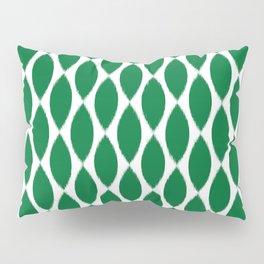Green Ikat Petals Pillow Sham