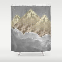 kerouac Shower Curtains featuring Silence is the Golden Mountain (Stay Gold) by soaring anchor designs