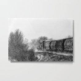 Winter LocomotionIII Black and White Metal Print
