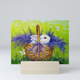 Rabbit in lavender Mini Art Print