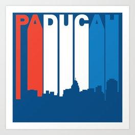 Red White And Blue Paducah Kentucky Skyline Art Print