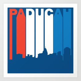 Red White And Blue Paducah Kentucky Skyline Art Print