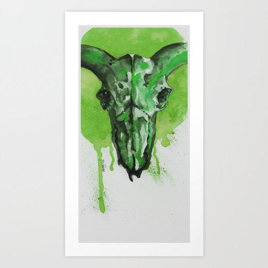 GreenMoonSkull Art Print